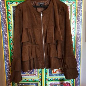 INCxAnnaSui brown ruffled faux suede jacket XL NWT